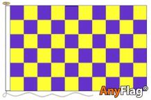 PURPLE AND YELLOW CHECK ANYFLAG RANGE - VARIOUS SIZES